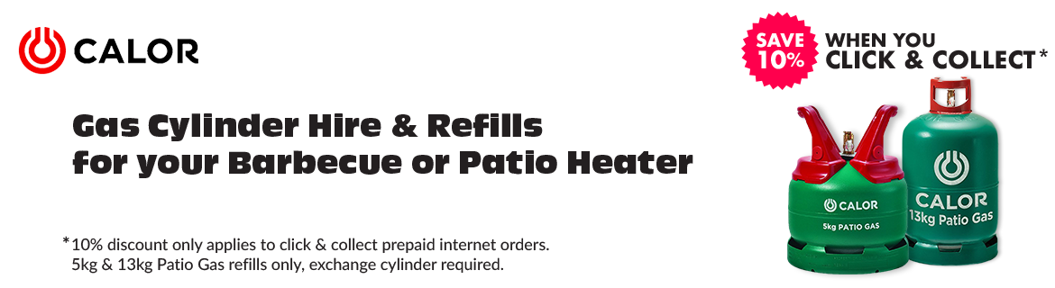 Gas Cylinder Hire & Refills for your Barbecue or Patio Heater - Click and collect from our Keighley or Bradford showrooms